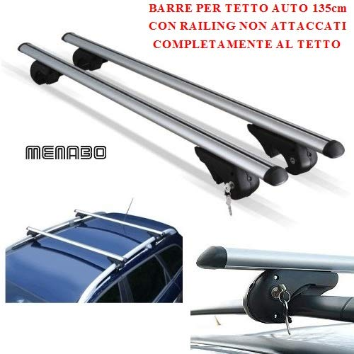 Dakdrager, compatibel met Daihatsu Terios 2008, voor imperialen, 135 cm, raildragers met rails niet gelijmd, compleet op het dak, bagagedrager van gecertificeerd aluminium.