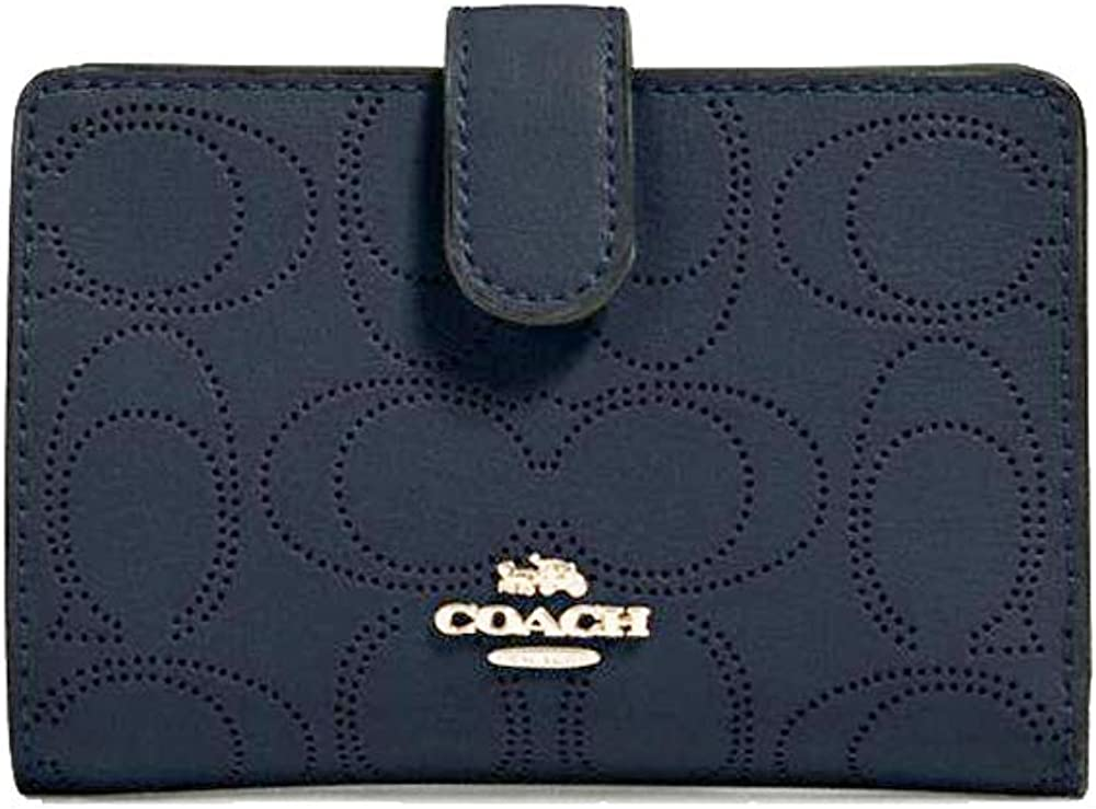 COACH WOMENS MEDIUM A surprise price is Max 70% OFF realized CORNER ZIP IN PERFORATED LE WALLET SIGNATURE