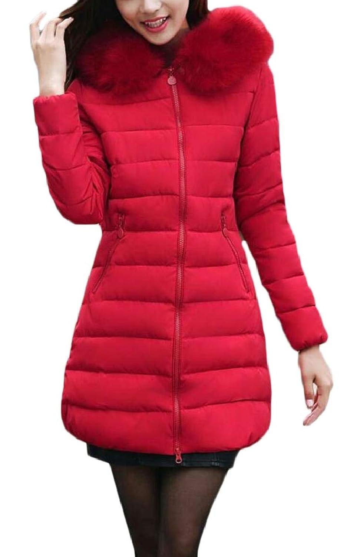 maweisong 女性キルトフォークスファーカラージップアウトドアミッドロング丈ダウンジャケットコート