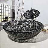 fbnrql Lavandino della nave in vetro temperato con design rotondo nero incrinato del lavandino del bagno con set di rubinetti in ottone cromato a cascata