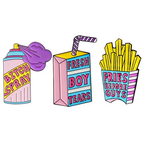 oshhni 3 Pezzi di Cartone Animato Creativo Distintivo Divertente Patatine Fritte Latte Spray Scatola