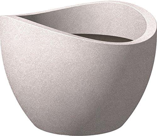 Scheurich 53383 250/30 Wave Globe Pot de Fleurs Plastique, Gris (Taupe-Granit), Ø 30 cm, hauteur: 21 cm