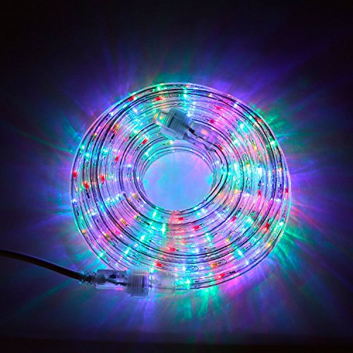 LED Rope Light Outdoor - Plug in (120V), 287 Multicolor Lights, 24 Ft Length, Connectable, Dimmable, 1/2 Inch Tube, Heavy Duty, Waterproof, for Exterior Lighting and Patio Decor