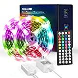Ecolor LED Strip Lights 32.8ft 5050 RGB LEDs Color Changing Lights Strip for Bedroom, Living Room, Kitchen, Home Decoration, with IR Remote and Power Supply, Cuttable and Dimmable DIY Modes