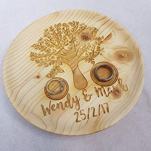Funda de almohada personalizada con diseño de árbol de madera para anillos ~ propuesta de compromiso ~ láser ~ portador de anillos de boda regalo anillo de boda recuerdo fundas de almohada