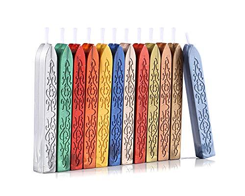Mogokoyo 12 Pezzi Ceralacca Bastoni Bastoncino con Stoppini Sigillatura di Bastoncini di Cera con Stoppino Colore Multiplo (stile 2)