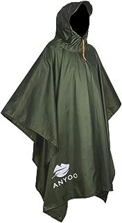 Anyoo 軽量防水レインポンチョ再利用可能なリップストップ通気性のマルチユースアウトドアキャンプハイキング釣りサバイバルのためのフード収納可能タープシェルターグランドシート理想の男性女性のためのレインコート