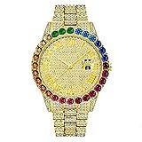 Reloj de Hielo Completo Bling Bling Diamond Hip Hop Joyas Relojes de Cuarzo para Hombres Mujeres