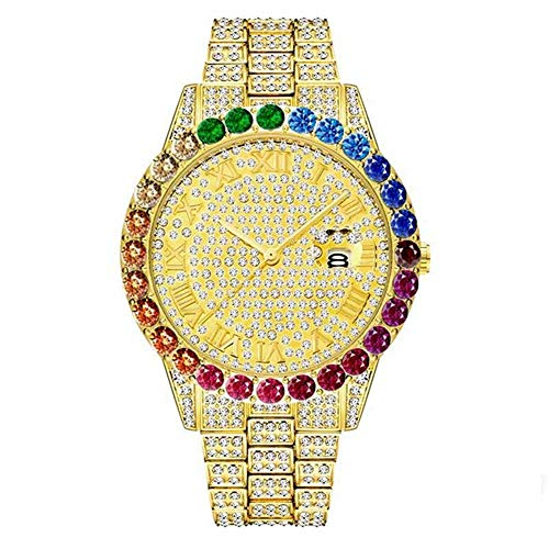 Orologio Da Uomo Con Diamanti Color Hip-Hop, Orologio Con Diamanti Bling Congelati Di Alta Gamma Con Lussuoso Cronografo Al Quarzo Con Disco Diamantato