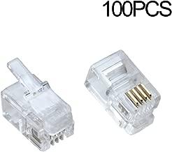 100Pack Transparent Color RJ9 Telephone Cable Plug 4P4C Connector