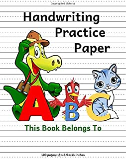 Handwriting Practice Paper: ABC Animal Design Notebook with Dotted Lined Sheets for K-3 Students