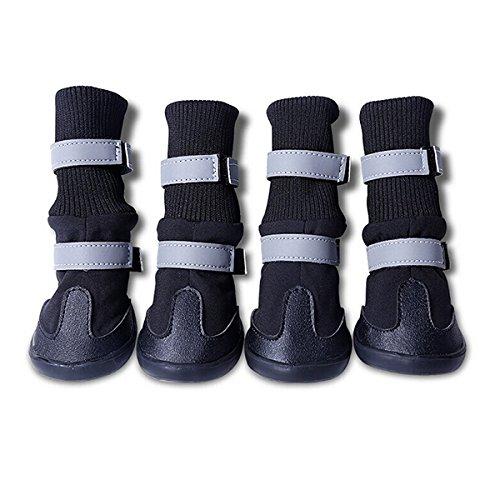 UEETEK 4pcs wasserdichte Hund Stiefel für mittlere bis große Hunde - Größe M (schwarz)
