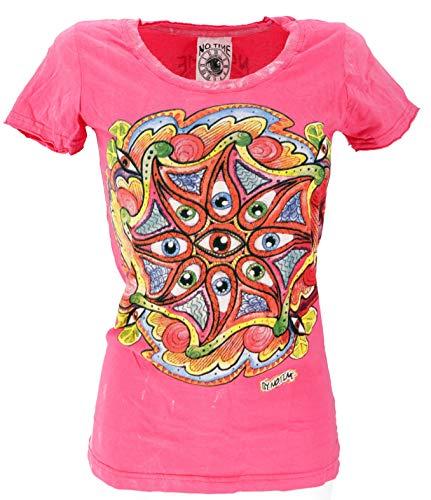 Guru-Shop, Spiegel T-Shirt, Oog/roze, Katoen, Size:L (14), Bedrukte T-shirts `Sura