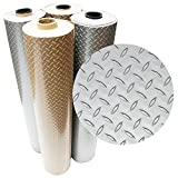 Rubber-Cal 03-W266-S-08 Diamond-Plate Metallic PVC Flooring, Silver, 2.5mm x 4' x 8