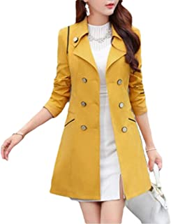 Women's Slim Fit Double Breasted Trench Coat Classic Lapel Overcoat