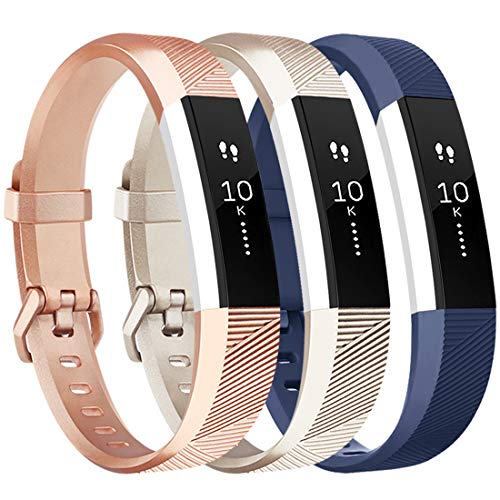 Tobfit Cinturino per Fitbit Alta e Fitbit Alta HR Cinturino Morbido Regolabile (Fitness Tracker Non Incluso) (Champagne+Rosegold+Navyblue, Small)