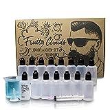 Mazanis 15 x 50 ml Liquid Flasche im Set mit 100 ml Messbecher + Trichter + 15 selbstklebenden Etiketten + 10 ml Spritze + Mischtabelle - Tropfflasche zur Handhabung von Flüssigkeiten