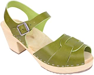 Lotta From Stockholm Peep Toe Clog in Apple Green Leather