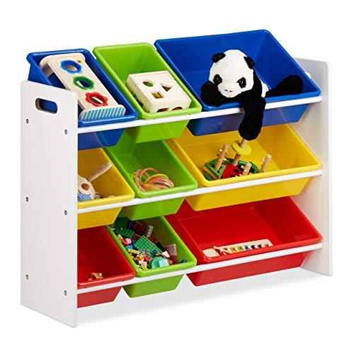 Relaxdays Kinderregal mit Regalboxen, Aufbewahrungsregal, buntes Spielzeugregal, MDF+Kunststoff, HxBxT 68x86x31 cm