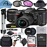 Nikon D5600 DSLR Camera 24.2MP Sensor with NIKKOR 18-55mm VR and 70-300mm Dual Lens, SanDisk 32GB Memory Card, Case, Tripod, Filters and A-Cell Accessory Bundle (Black)