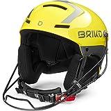Briko Slalom Casco de esquí/Snow, Adultos Unisex, Shiny Yellow-Silver, 56 cm