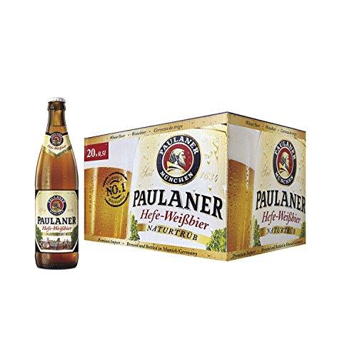 Paulaner Hefe Weissbier Cerveza - Caja de 20 Botellas x 500