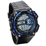 JewelryWe Montre Homme Electronique Etanche Sport Numérique Digital Bracelet Plastique Alliage Couleur Bleu