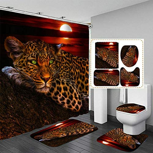 4Pcs Moon Leopard Flower Cheetah with 12 Hooks Illusion Rug Bathroom Shower Curtain Toilet Mat product image