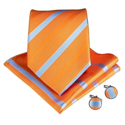 WOXHY Männer Krawatte Sommer Frucht Farbe Orange Seide Dating Hochzeitsfeier Taschentuch Manschettenknöpfe Krawatten Set Hochzeitsfeier