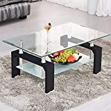 Rectangle Glass Coffee Table, Clear Coffee Table Modern Side Center Tables for Living Room