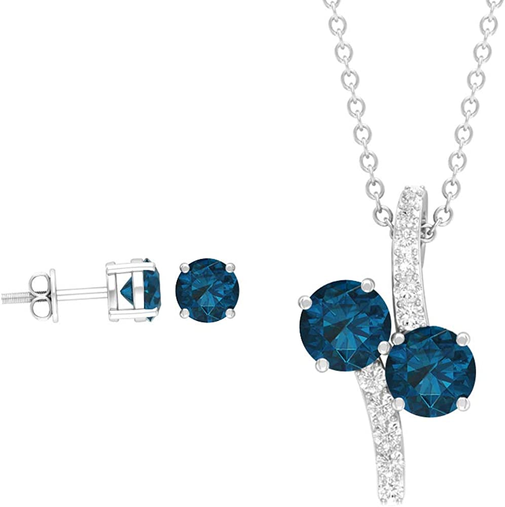 Custom 2.38 CT London Blue Topaz Jewelry Sets, Round Cut Blue Gemstone Earring, Birthstone Necklace and Earrings, Diamond Drop Necklaces (AAA Quality)