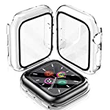 LeYi Cover Compatibile con Apple Watch 38mm Serie 3/2/1, (2 Pezzi) Custodia Rigida PC Full Protezione in Vetro Temperato Integrata, Ultra Sottile per iWatch Apple Smart Watch Serie 3/2/1 38mm