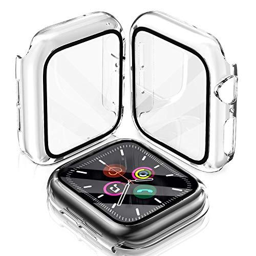 LeYi Hülle Mit Panzerglas für Apple Watch Series 6/SE/5/4 44mm HD Ultradünne Displayschutz, 2 Stück Transparent Vollschutz Rugged Armor Hard PC Bumper Schutzhülle für iWatch 6/SE/5/4 44mm