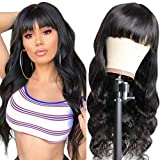 Maxine Body Wave Human Hair Wigs with Bangs for Black Women 150% Density Remy Brazilian None Lace Front Wgis with Bangs Glueless Machine Made Wigs Natural Black Color 22 inch
