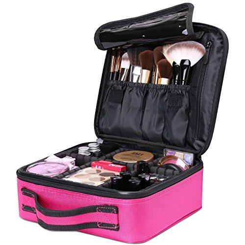 Luxspire Makeup Kosmetikkoffer, Professionelle Make Up Etui Kosmetische Box Tragbare Reise Künstler Aufbewahrungstasche Toiletry Organizer mit einstellbaren Teiler, Magenta