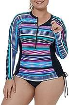 XAKALAKA Women's Plus Size Zip-Front Multicolor Striped Long Sleeve Tankini Rashguard Top Multicolor XXXL