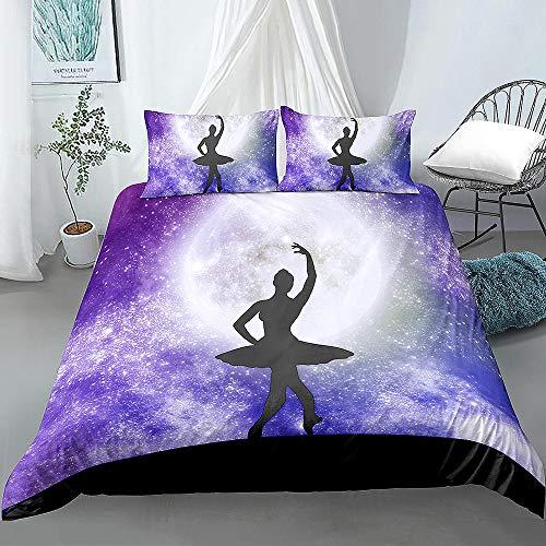 Ballett-Bettwäsche-Set, groß, violett, Bettbezug, Tagesdecke, Galaxie, Nachthimmel, elegantes Bettwäsche-Set, 2/3-teilig, 1 _ UK Single 135 x 200 cm