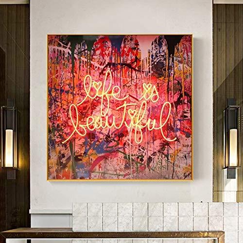 ganlanshu Rahmenloses MalenLife ist EIN wunderschönes Wandbild auf Leinwandplakaten und -drucken für die Dekoration von Wohnräumen im Wohnzimmer (30 x 30 cm)