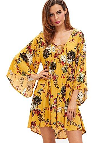 Milumia Women Boho Floral Print Flared Vacation Flowy V Neck Mini Dress Multicoloured Medium