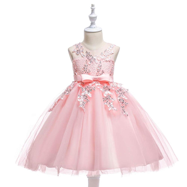 ガールズドレス 女の子ドレス ワンピース 女の子 花 ピアノ 発表 会 結婚式 入園式 演奏 袖なし