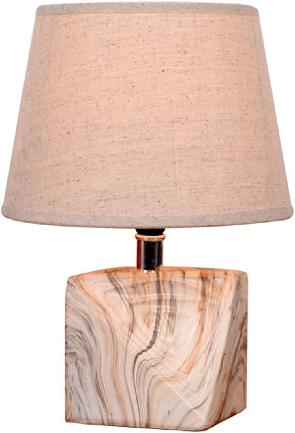 Creative Ceramic Table lamp, Wood Texture Bedside lamp for Decorating The Living Room Study