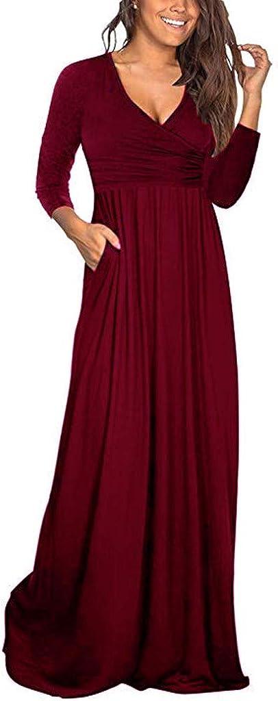 Ladies Women Plaid V-Neck Long Sleeve Dress Long Beach Dress