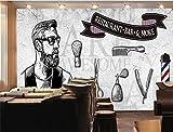 SKTYEE Papel De pared De salón De pelo personalizado para hombre, peluquería 3D, Fondo De pared De cemento gris, Papel tapiz Mural, Papel De pared De salón De hombre 3D, 350x245 cm (137.8 by 96.5 in)