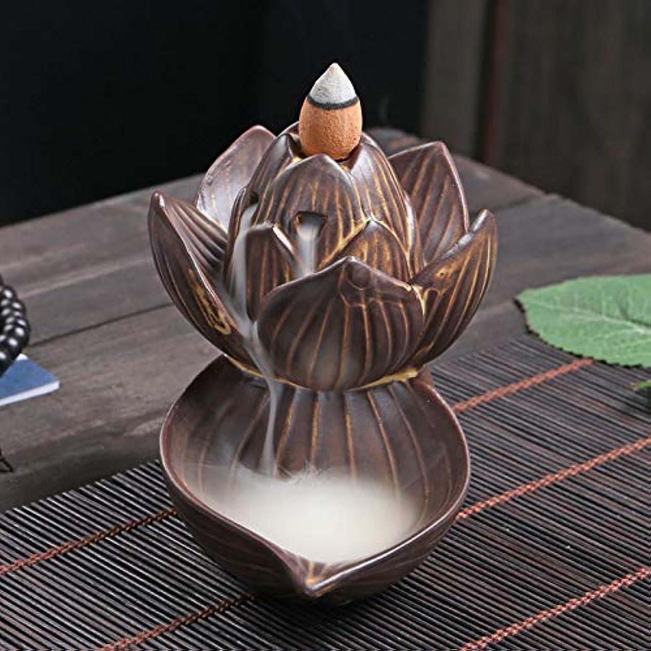 依存する神秘的な好奇心PHILOGOD 逆流香炉 陶器ロータススタイリング香炉 工芸品お香 ホルダー 香立て逆流香 香皿 (large lotus)