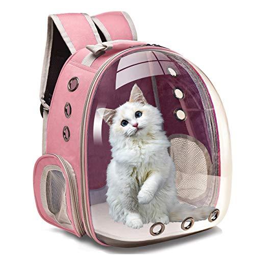 Mochila de gato para viajes, senderismo y uso al aire libre, con ventilación para gatos, bolsa de transporte de burbujas transparente para mascotas pequeñas y medianas, color rosa