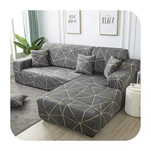 Funda elástica de sofá a cuadros para sofá de esquina seccional para sala de estar 1/2/3/4 Funda en forma de L Need Buy 2Pieces-Color21-2 Seater145-185cm1PC