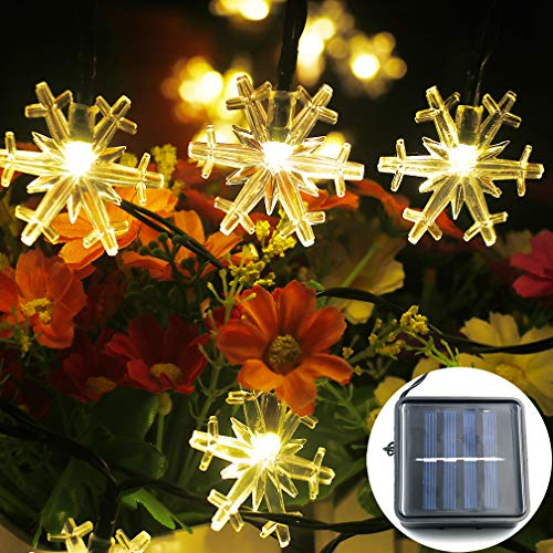 Mankinlu Solar Snowflake String Lights, Waterproof Solar Powered 31FT 50 LEDs Outdoor Snowflake String Lights,Romantic Decoration Fairy Light for Xmas Tree Indoor Outdoor Garden Party Warm White.