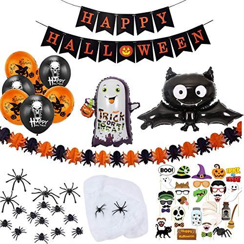 Halloween Party Deko Dekoration XXL Set mit 84 Teile Accessoires inklusive Banner, Girlande, Mylar-Luftballons und Latexballons, Spinnen, Spinnennetz, Fotobox für Gruselige Party Garden Bar Haus