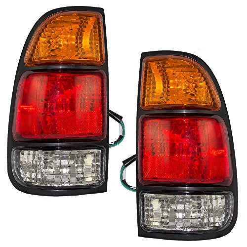 Taillights Tail Lamps with Amber-Red-Clear Lens Driver and Passenger Replacements for Toyota Tundra Pickup Truck 815610C010 815510C010