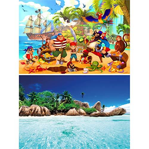 GREAT ART Set de 2 Carteles – Piratas – Barco Pirata y Playa de la Isla de Seychelles Caza del Tesoro Loro Bandera del Caribe decoración Foto póster (DIN A2 – 42 x 59,4 cm)